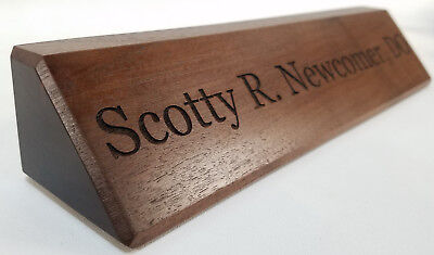 Walnut Desk Nameplate - Personalized Office Name Plate - Executive - Engraved