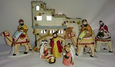 8 Piece Porcelain Nativity Set With Lighted Stable I.O.B