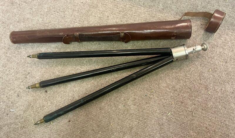 Vintage Ising Bergneustadt Tripod Telescoping Brass Legs w/ Case Germany