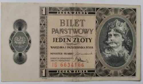 POLAND - 1938 - 1 - ONE - ZLOTY - AMAZING BANKNOTE - KING CHROBRY - XF - 66 - 66