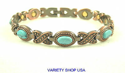 Large Hugs & Kisses with Turquoise Stones Magnetic Therapy Bracelet A1029 ()