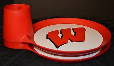 (2) WISCONSIN BADGERS TAILGATE PAPER PLATE HOLDERS Drink/Cup Buffet Buddy Caddy](Paper Plate Caddy)