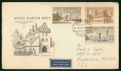 MayfairStamps Czechoslovakia 1954 Prague to Wauwatosa Wisconsin Air Mail Cover w