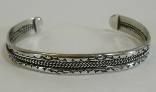 Navajo sterling silver stamped and twist wire cuff bracelet