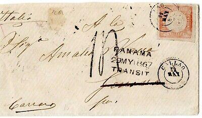 PERU - PANAMA - ITALY - 1d COVER - CALLAO to GENOVA via PANAMA - 1867 RRR