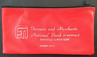 Farmers And Merchants National Bank Of Nashville Illinois Zippered Currency Bag