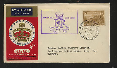 Norfolk Island #12  cononation cover  cachet  1953        KL1207