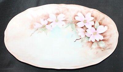"Vintage Bareuther Bavaria Germany Floral Oval Plate 11"" X 7 1/4"" Signed"