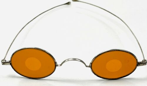 Antique 19thC Civil War Era 1860s Frosted Amber Sharpshooter Spectacles Glasses