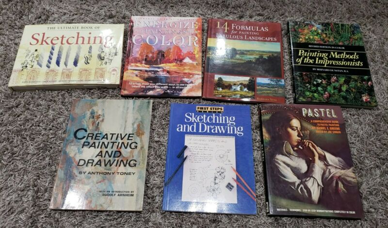 Lot of 7 Art Books Painting Draw Sketch Artist How To Techniques Lesson Color