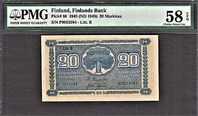 Finland 20 Markkaa 1945 (ND 1948) Litt. B Pick-86 About UNC PMG 58 EPQ