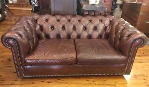 Vintage Leather 2 seater Oxford Chesterfield Lounge Sofa Sydney City Inner Sydney Preview