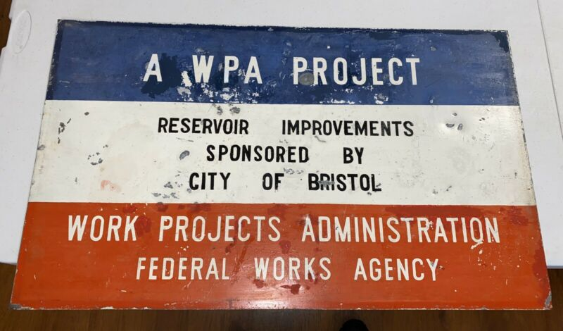 "ANTIQUE Metal WPA Federal Works PAINTED Sign Project Rare 30"" x 18"""