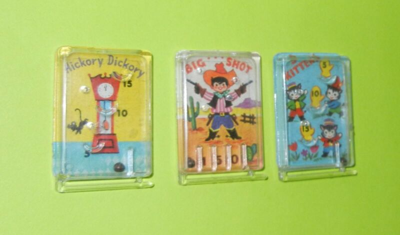 3 Vintage Cracker Jack Pin Ball Games - Complete with Flippers & Balls Inside -