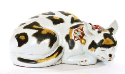 Old Japanese Kutani Porcelain Sleeping Cat Maneki Neko