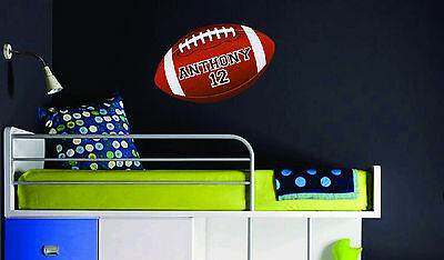 Football with Personalized Name Number Vinyl Wall Decal Decor bed room removable