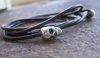 Surf Style Lederarmband braun Herrenarmband Leder Armband Skull neu Totenkopf