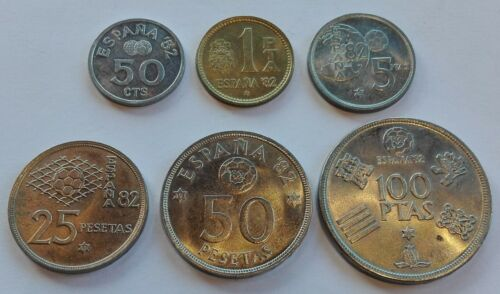 SPAIN complete set 1982 FIFA World Cup Soccer 50 cts, 1, 5, 25, 50, 100 pesetas