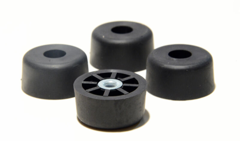 4 EXTRA LARGE TALL - 1.5 W X  .750 H - ROUND RUBBER FEET BUMPERS AMPS  - US MADE