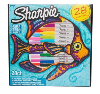 Sharpie Fish Limited Edition Permanent Markers Fine Nib Assorted Ink Pack of 28