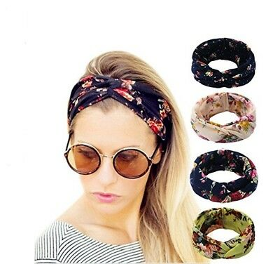 4 Pack Women Elastic Flower Printed Turban Head Wrap Headband Twisted Hair Band - Adult Headbands