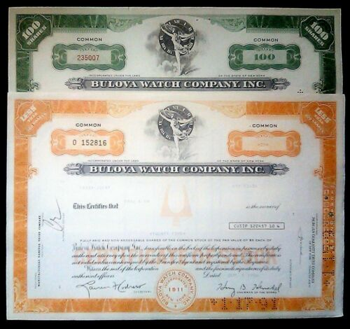 VY RARE ORIG BULOVA WATCH STOCK CERTIFICATE w RUNNING NUDE! DIFF COLORS/TYPES AV