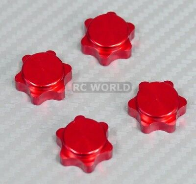 RC 1/8 Buggy Wheels Tires Rims  17MM Anodized WHEEL NUT CAP RED -4 -