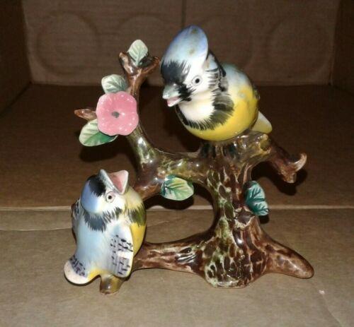 Vintage Ceramic  Blue Bird Bluejay Jay Bird In Tree Made In Japan
