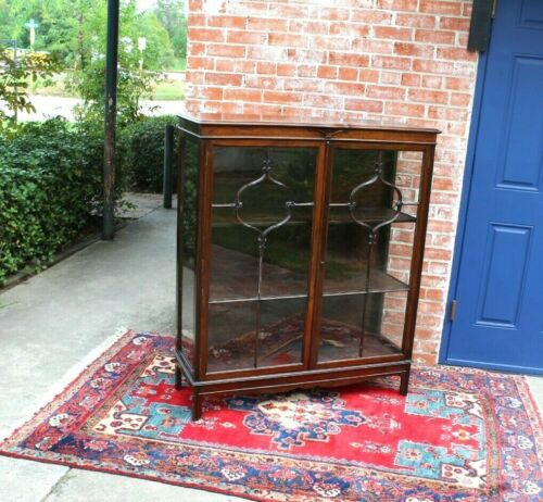 English Antique Solid  Mahogany Chippendale Bookcase / Display Cabinet