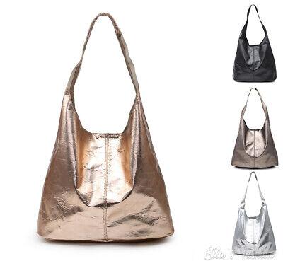 Womens Soft Metalic Sleek Slouch Large Tote Hobo Shoulder Bag Shopper Handbag