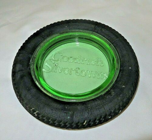 Vintage Goodrich Silvertowns Green Akro Glass Ashtray Garage Gas Service Station
