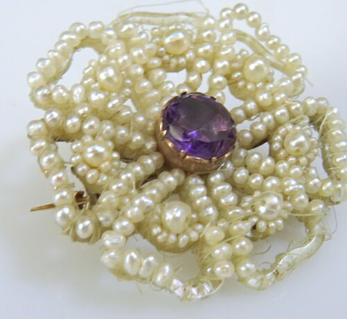 Georgian Seed Pearl and Amethyst Brooch with solid Gold Pin- some loss to pearls