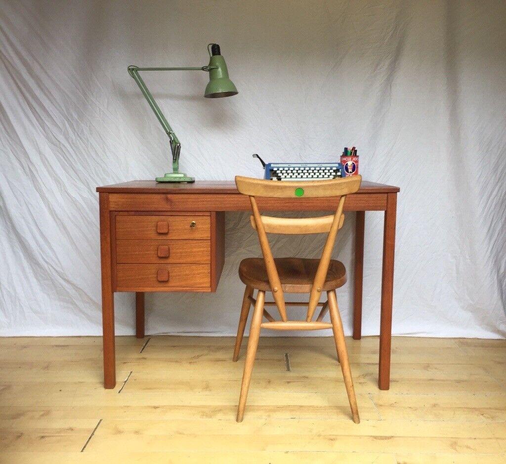 Vintage Danish 1960s Teak Mid Century Compact Small Desk