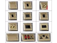 50 Georgian Brass Electrical Switches Plates Dimmer Cooker Blanking Intermediate Phone Socket