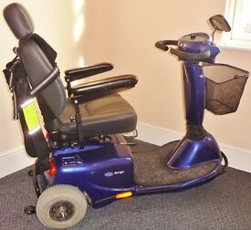 INVACARE AURIGA ELECTRIC MOBILITY SCOOTER 3 WHEEL BLUE NEW BATTERY & TYRE