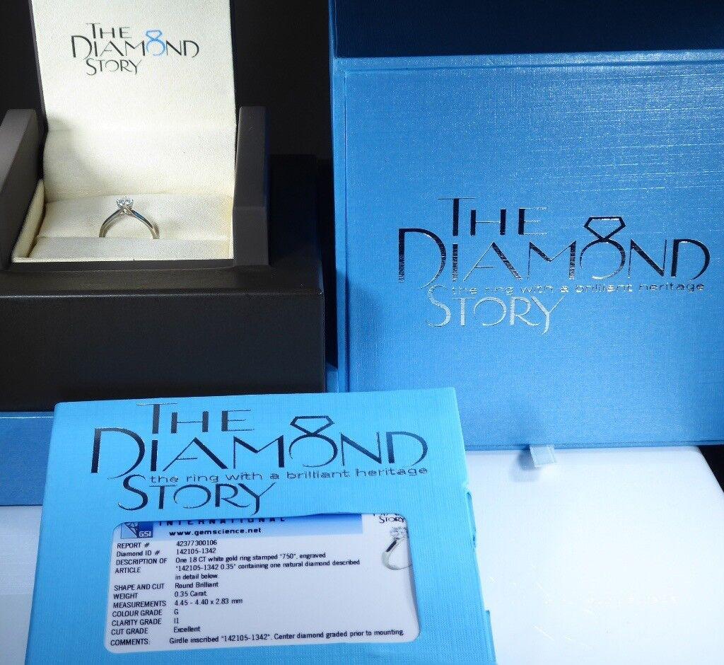 Gsi Certified 18k White Gold The Diamond Story 035ct Diamond
