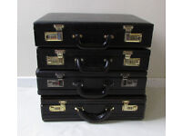 4 X Suitcase briefcase joblot Vintage combination lock faux leather shop display props