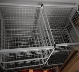White metal storage basket / drawers & Frame
