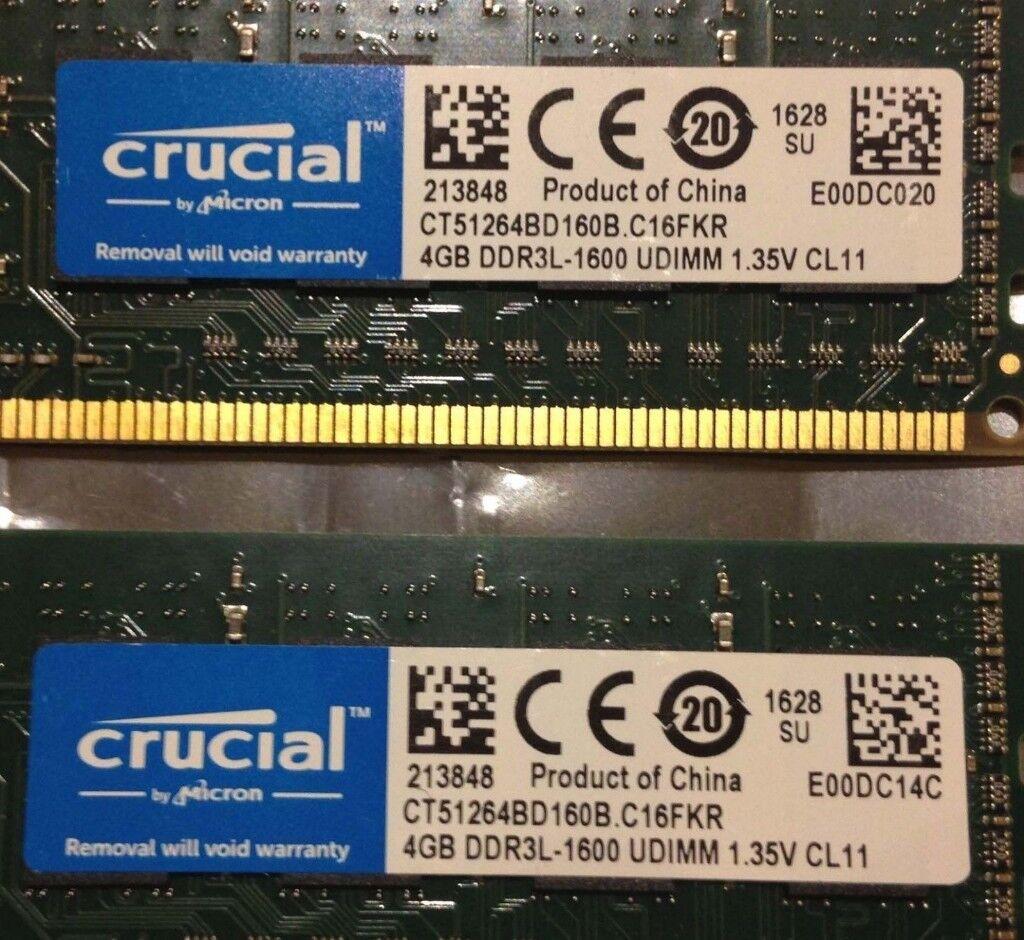 Crucial Ddr3l 1600 Udimm Ram 8gb 4gb X2 Ct51264bd160b Cl11 1 35v