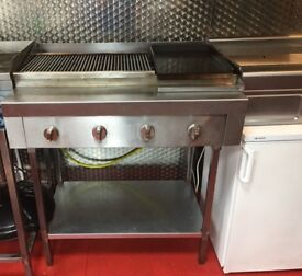 4 burner Gas chargrill & griddle with stand. very clean and in perfect working order.