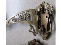 Antique Art Nouveau Brass Candle Holders Bronze or Copper Deco