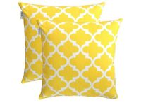 2x Cushions (40 x 40 cm, Yellow) PILLOWS INCLUDED