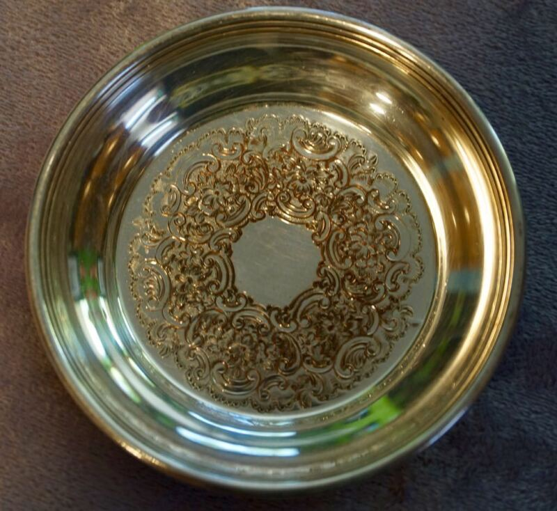 """Antique Silverplate Coaster/Ashtray Barker Ellis Made in England 4 1/8"""" Round"""
