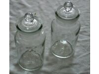 TWO KITCHEN STORAGE JARS - GLASS WITH GROUND-GLASS LIDS - 6 INCHES TALL x 2.1/2 INCH DIAMETER