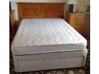 Double Divan Bed with mattress & Pine Headboard