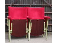 A Pair of Vintage Art Deco C1930s Red Velvet Cinema Theatre Seats REF101 UK Delivery Available