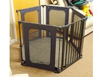 BABY START METAL & FABRIC PLAYPEN WITH INSTRUCTIONS & PLAY MAT VGC