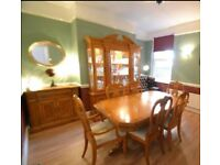 Dining room table, chairs, server cabinet and display cabinet