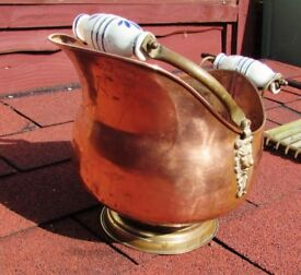 pretty much as seen, copper and brass, and porcelain handle