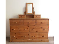 Large pine chest of drawers with matching classic mirror stand